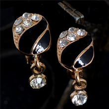 H:HYDE Cheapest!! Hot Crystal Rhinestone Earrings Gold Color Women Jewelry White Black Hoop Earrings Gift for Women