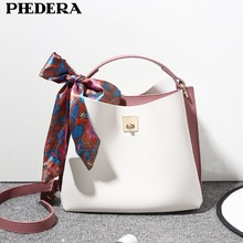 PHEDERA New Style Women Tote Bag Fashion Bucket Ladies Handbags High Quality PU Leather Fresh Female Messenger Bags White Purse(China)