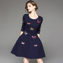 2017 New Autumn Butterflies Embroidery Pretty Women Dress High Quality Three Quarter Sleeve O_neck Big Swing Sweet Dress(China)
