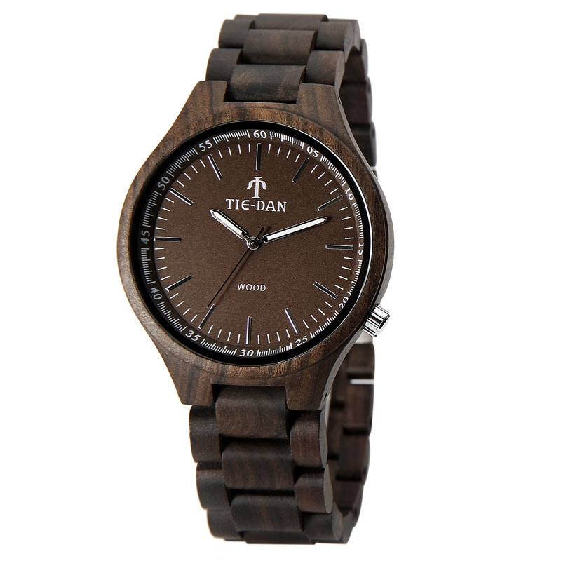 Simplely Wood Mens Watches Top Brand Full Wooden Luxury Quartz Wristwatches Relogio Masculino Folding Clasp Male Clock <br>