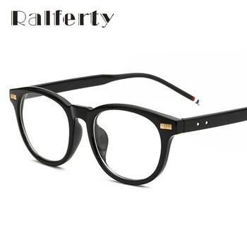 Ralferty Unisex Do Vintage Rebite Óculos de Armação Com Lente Clara Mulheres Homens Retro Moldura De Vidro Miopia Prescrição Óptica Óculos 8163