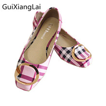 Guixianglai 2018 Korean New Fashion Spring Women Flats Shoes Ladies Bow Square Toe Slip-On Flat Women's Shoes Plus Size 35-42(China)