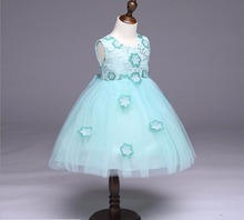 Baby Girl Party Tutu Dress Mint Green with Pink Rose Girl Flower Dress Birthday Wedding Tutu Dress For Baby Girl 2-8Y