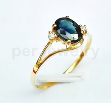 Sapphire ring 18k gold ring Per Jewelry Natural and real sapphire Fine jewelry Blue gem 1CT gem #15012201