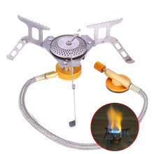 Mini Camping Gas Burner Stove With Electronic Adapter For Outdoor Picnic Portable Foldable Gas Butane Propane Burning Cooker