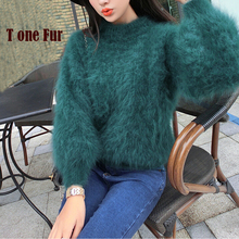 100% Real Mink Cashmere Pullovers Female High Fashion Luxury Natural Sweaters Wholesale OEM Retail Custom Coat KFP899(China)