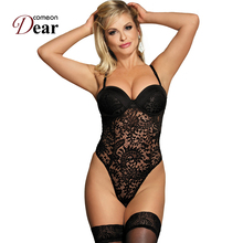 Comeondear Black White Halter Push-up Cup Lace Teddy Ropa Interior Mujer Vacuum Bed Woman RB80285 Sexy Crotch Zipper Catsuit(China)