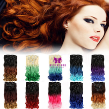 20inch 10colors Ombre Rainbow Clip in Hair Extensions 7pcs/set Mix Three Colors Tone Bunte 140g Synthetic Fake Hair Extension