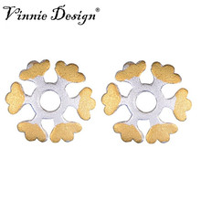 Vinnie Design Jewelry 925 Sterling Silver Snowflake Stud Earrings Gold Color for Women Girls New Year Christmas Gift(China)