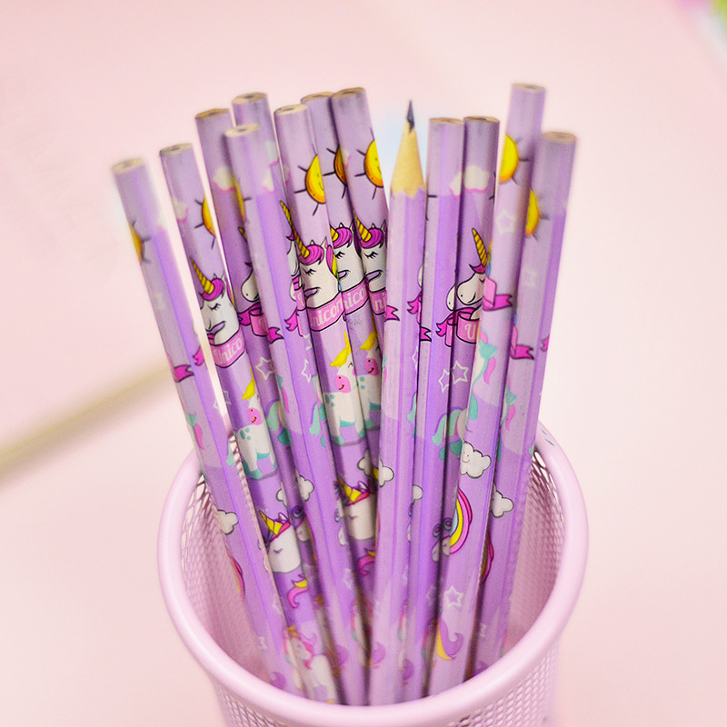 Cute Pink Kids Colored Pencils Korean Set 12 PCS Toys Draw Stationary Gift