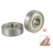 New Style 2 pcs Single Shielded 608Z Miniature Deep Groove Ball Bearings