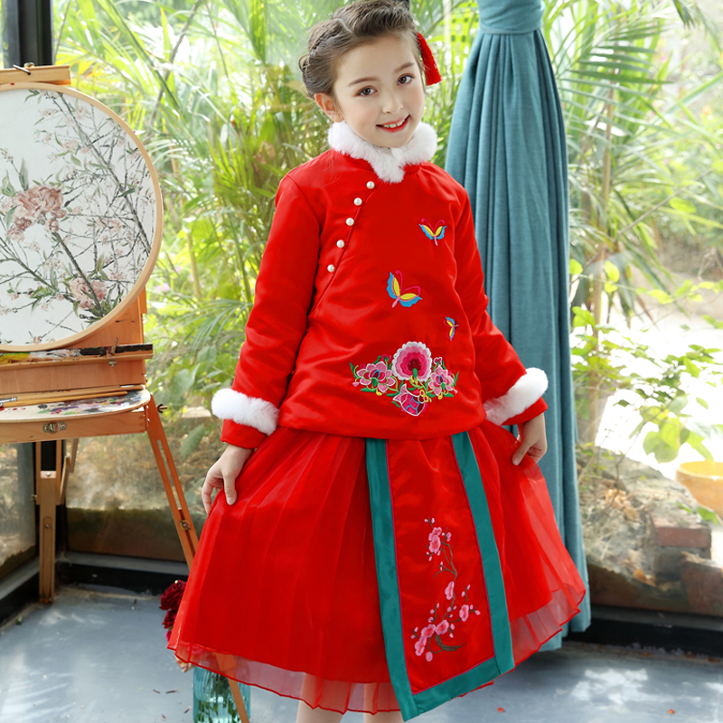 Chinese Style New Year Red Girl Dress Christmas Evening Party Plus Thick Princess Festive Party Wedding Girl Children Clothing<br>