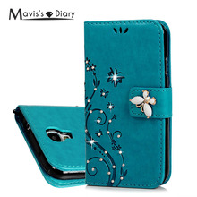 MAVISSDIARY Leather Case for Samsung galaxy S4 Luxury Bling Crystal Diamond Wallet Case Flip Cover for Samsung S4 i9500 i9505