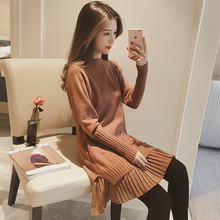 2017 summer women dress long sleeve split t shirt vestido o neck dress casual printed jersey dress