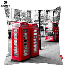 London City Styel Retro Red Telephone Boxes Pattern Print Custom Home Decorative Throw Pillow decorate pillow sofa chair cushion