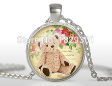 2017 New Cute Teddy Bear Necklaces Lovely Doll Pendant Jewelry Glass Dome Photo Necklace Gifts GirlHZ1
