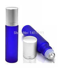 280pcs/lot HOT SALE 10ml Frosted Glass Roll On Essential Oil Perfume Bottles W/ Stainless Steel Roller Ball BY DHL Free Shipping