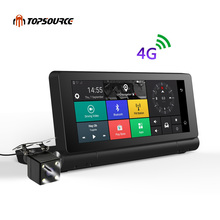 TOPSOURCE New 4G Car GPS Navigation Android 5.1 Bluetooth ROM 16GB RAM 1GB Full HD 1080P Car DVR Dual Lens Camera Navigator(China)