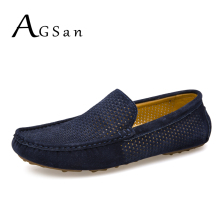 Buy AGSan Men Loafers Summer Breathable Genuine Leather Moccasins Men Driving Shoes Leather Casual Shoes Slip Mocasines Hombre for $26.86 in AliExpress store