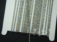 Free shipping 10 Yard Ss6.5 B Grade AB Rhinestone Trim chain Color Setting(grey )  bling With crystal plastic base