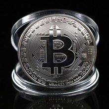 1Pc Silver Plated Bitcoin Coin Collectible BTC Coin Art Collection Gift Physical(China)