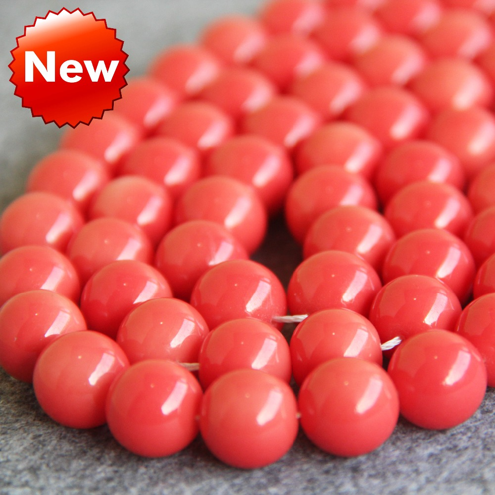 New For Necklace&Bracelet 14mm Pink Shell Pearl Beads SeaShell DIY Gifts For Women Girl Loose Beads Jewelry Making Design 15inch(China)