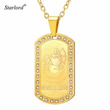 Starlord Zodiac Sign Sagittarius Pendant Necklace For Men Women Gold Dog  Tag Necklace Constellation Jewelry Gift GP3608 b3aded9f1fea