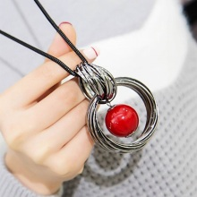 New circles simulated pearl ball pendant long necklace women black chain fashion jewelry wholesale gift