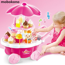 mobokono Children play toy trolley simulation Mini girl music light car supermarket candy ice cream Girls' toys(China)