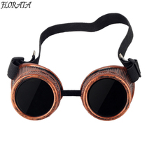 Red Frame Cyber Goggles Steampunk Glasses Vintage Welding Punk Gothic(China)