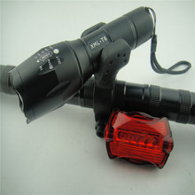 2000lumens T6 LED Zoom Flashlight Torch Front Bicycle Light Bike Lamp AAA flashlight mount +Rear light