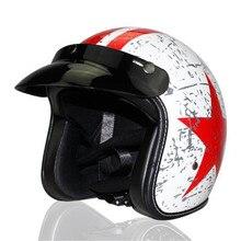 White Vintage helmet motorcycle motorbike motocross helmet Capacete Casco open face jet retro scooter helmet Protective DOT