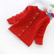 2016 new autumn and winter children's clothing girls solid color cotton sweater cotton girls' cardigans b8012