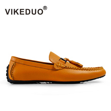 VIKEDUO Brand Retro Handmade Men Moccasin Gommino Fashion Casual Shoes Leather Tassel Shoes Hand Painted Footwear(China)