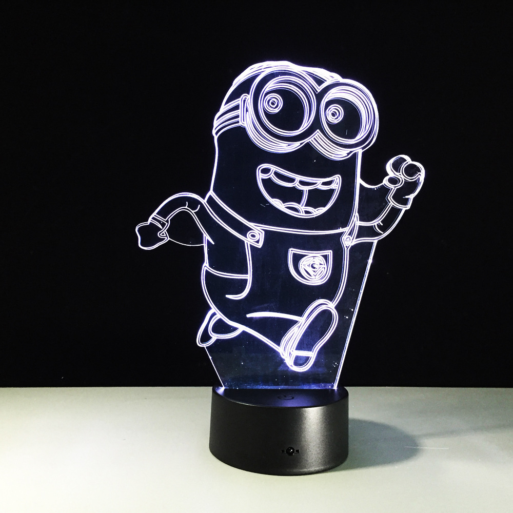 3D LED Lamp Running Minions 7 Color Changing Baby Night Light Toy Decor Nightlight For Children Gifts Bedroom Lighting