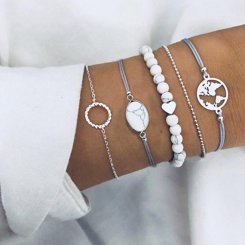 5 Pcs/ Set Female Retro Map Heart Love Bead Round Gem Leather Chain Bracelet Set Personality Girl Festival Gift
