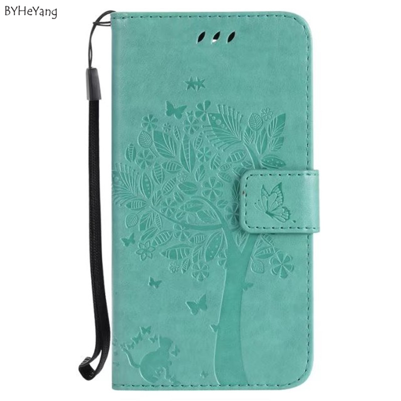 BYHeYang For Coque Huawei Honor 6C cover Huawei Honor 6C case PU Leather Silicone Case coque phone case Tree Pattern Phone bags(China)