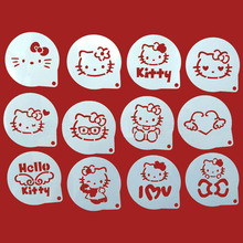 12Pcs/Lots Cartoon Cat Figure Cappuccino Coffee Decorating Stencils Cookie Latte Stencil Cake Mold Decor Barista Duster Art DIY
