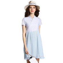 Light Blue Summer Style Plated Dress New Women Maix Dress jacquard Cotton Chiffon Short Sleeve Stand Vintage Neck Solid Casual(China)