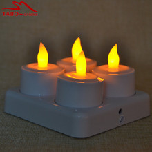 Set of 4 Rechargeable Flameless Tealight Candle Remote & Frosted ABS Holder Included for Bar Hotel Restaurant Decoration