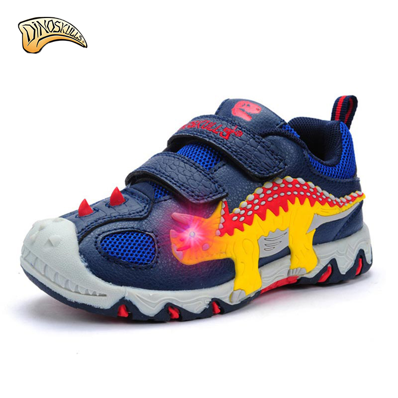 2017 Spring autumn Kids Sneakers Fashion dinosaur Luminous Lighted Colorful LED lights Children  Casual Shoes kids Boy Shoes<br>