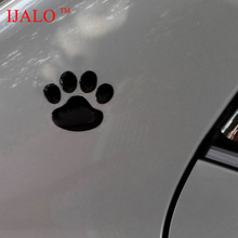 HOT COOL!! Black arrive!! 1 Pair Dog paw Dog Footprint 3D Panda paw sticker 3D PVC Car Sticker 2pcs more 20% off(China)