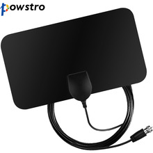 Powstro HDTV 1080P Digital TV Antenna 25 Miles Range Indoor Flat TV Antenna no amplifier with Coaxial Euro Adapter(China)