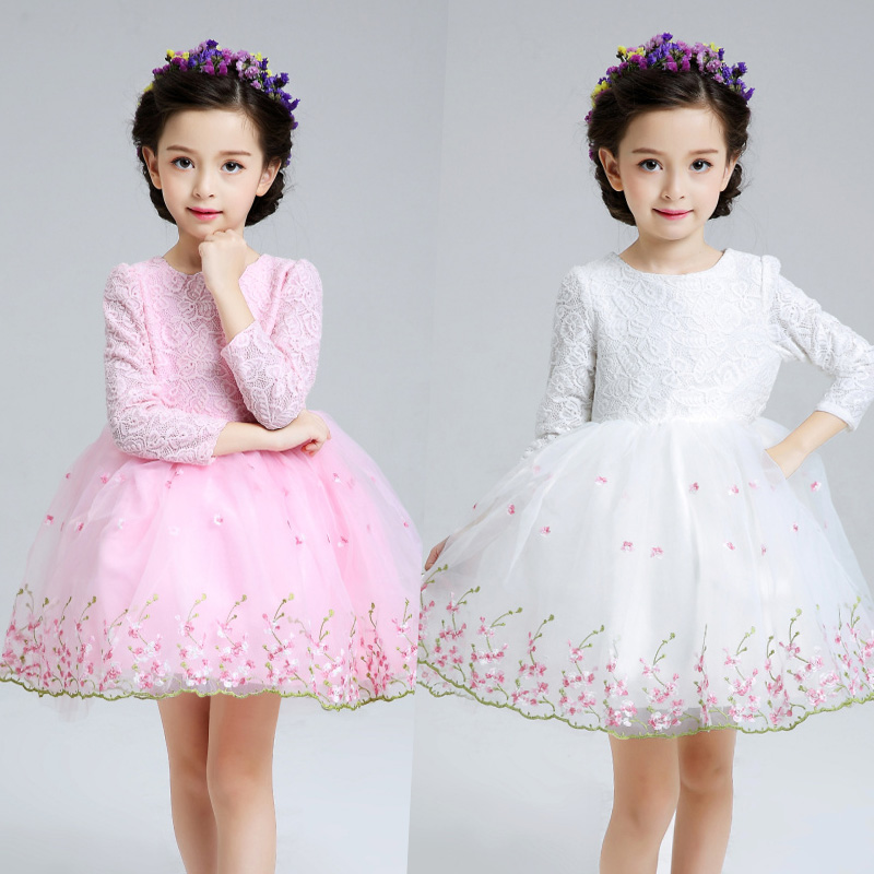 Winter plus velvet Princess Dress Girls TUTU dress wear long sleeved dress  flower girl dress<br>