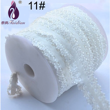 20mm width Embroidered elastic white lace trim stretch net lace ribbon for Baby hair accessories sewing materials(China)