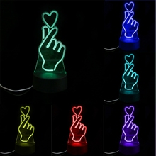 USB Novelty 7 Colors Changing Finger Heart LED Night Light 3D Desk Table Lamp Home Decor L15(China)