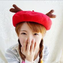 Buy WLPARTY Woman Christmas Elk Deer horn cap Wool beret Fashion Hat Deer ear Winter Warm Artist girl cap beret Lovely hats #30 for $6.75 in AliExpress store