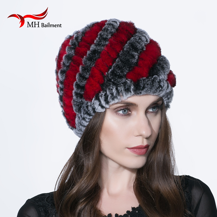 2017 new autumn and winter fashion women knitted Rabbit fur hat rex rabbit hair lady warm winter beanies H#1Одежда и ак�е��уары<br><br><br>Aliexpress