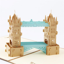 Vintage Unique Tower Bridge Handmade 3D Pop UP Greeting Cards(China)