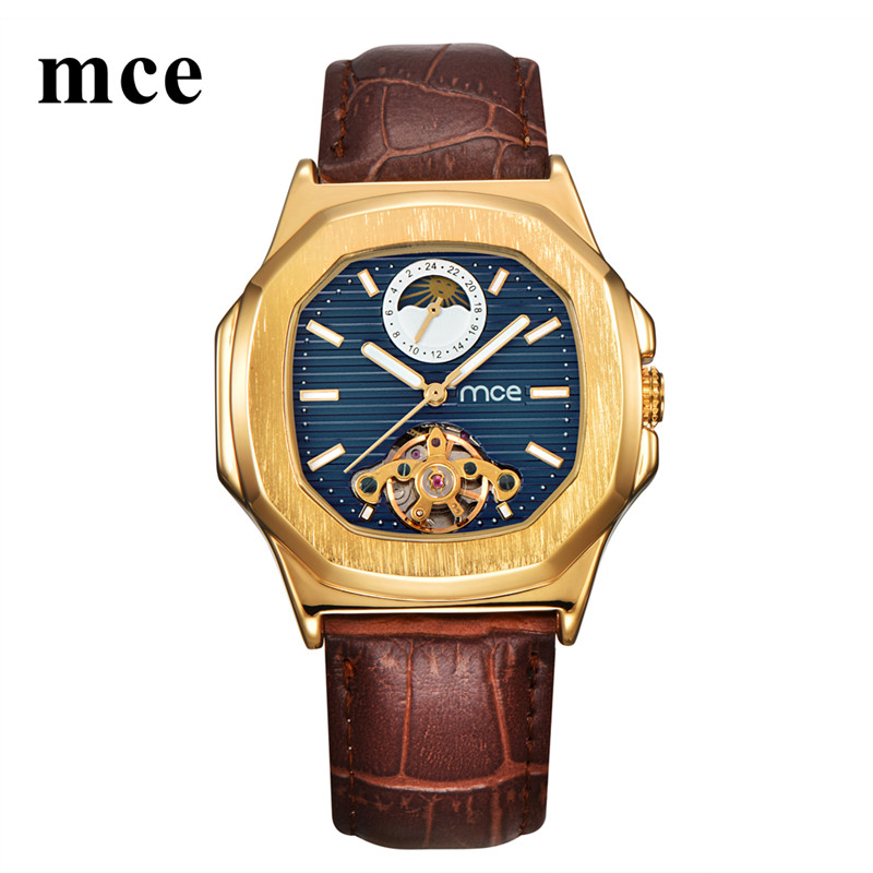 MCE Mechanical Watch Men Moon Phase Square Watches Mens Automatic Tourbillon 2018 Luxury Brand Women Wristwatch Genuine Leather<br>